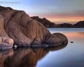 Arizona Photography - Prescott Watson Lake Arizona Sunrise Reflections - Fine Art matted 13 x 19