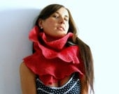 Felt scarf- red  fancy ruffle felted scarf, fall fashion winter trends original fancy, Christmas gift for woman,boa