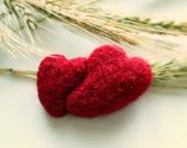 Needle Felted Red Brooch,  weding favor gift, red, heart, handmade, wool, merino, felt, gift