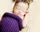 Crochet Baby Cocoon, Purple Grapes, Newborn Baby Photography Prop