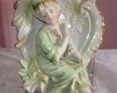 Celadon Art Deco  Lady Ceramic Decoration