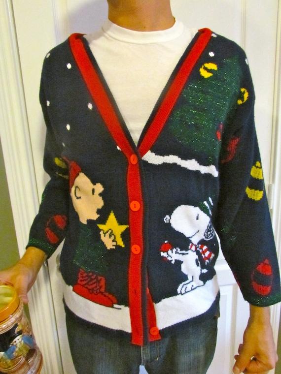 Vintage Charlie Brown Christmas Sweater Cardigan