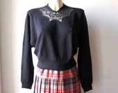 Vintage black sweater with lace detail
