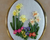 Special order for Concetta only. Ribbon embroidery of spring flowers. .