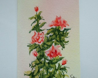 ACEO Original watercolor painting of Pink Roses.