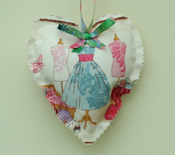 Lavender scented heart shaped bag in fashion fabric. Handmade.