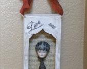 Vintage China Head Doll Primitive Doll Altered Art Doll Soldered Glass Bottle