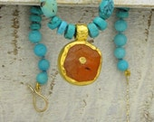 24k gold Turquoise and Carnelian  necklace - FREE SHIPPING