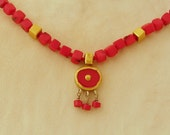 Vivid Coral necklace with 24k gold beaded with red cubical Corals - FREE SHIPPING