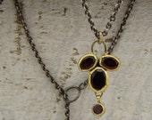 Garnet Necklace ,  24k Gold & Garnets Clover Pendent on an Oxidized Silver Chain