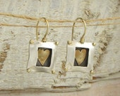 Square silver and gold earrings  - Heart in a Box -  FREE SHIPPING