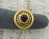 Round  Garnet ring with 24k gold - FREE SHIPPING