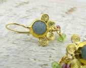 Aquamarine  Earings . 24k Gold Earrings with  Peridot and Garnet Beads