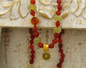 Custom Listing for Sharon - Carnelian & Serpentine Necklace - 24k Solid Gold Necklace - Gemstones Necklace