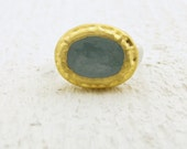 Aquamarine Ring, Gold Ring,  24k Gold and  Aquamarine  Ring, 24k Gold & Silver Oval  Ring , Gemstone Ring