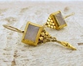Moonstone Earrings, 24k Solid Gold & Rainbow Moonstone Earrings , Bridal Jewelry , Dangle Gold Earrings
