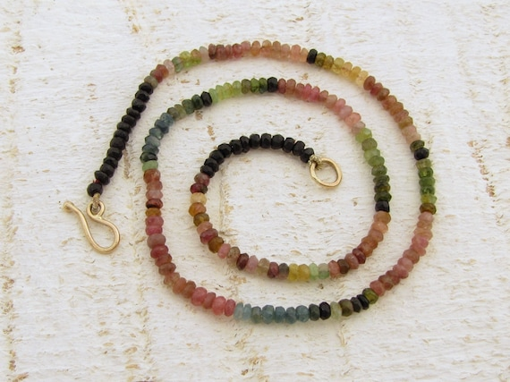 Tourmaline Necklace, Colorful Tourmaline Necklace with 9k Gold Clasp