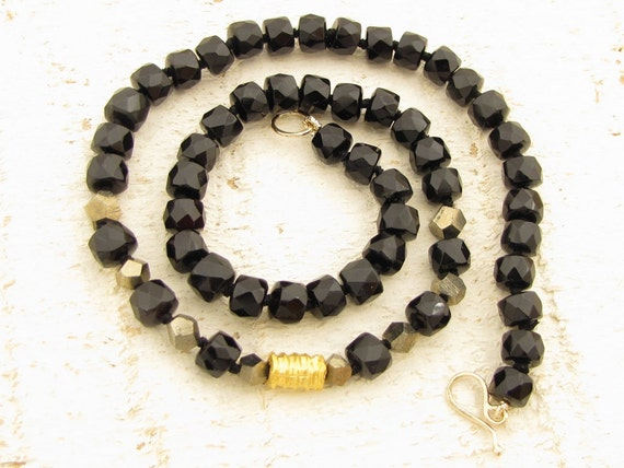 Onyx & Pyrite Necklace with 24k Gold, Onyx Strand