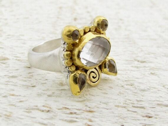 Crystal Ring, 24k Gold & Silver Ring, Cocktail Ring