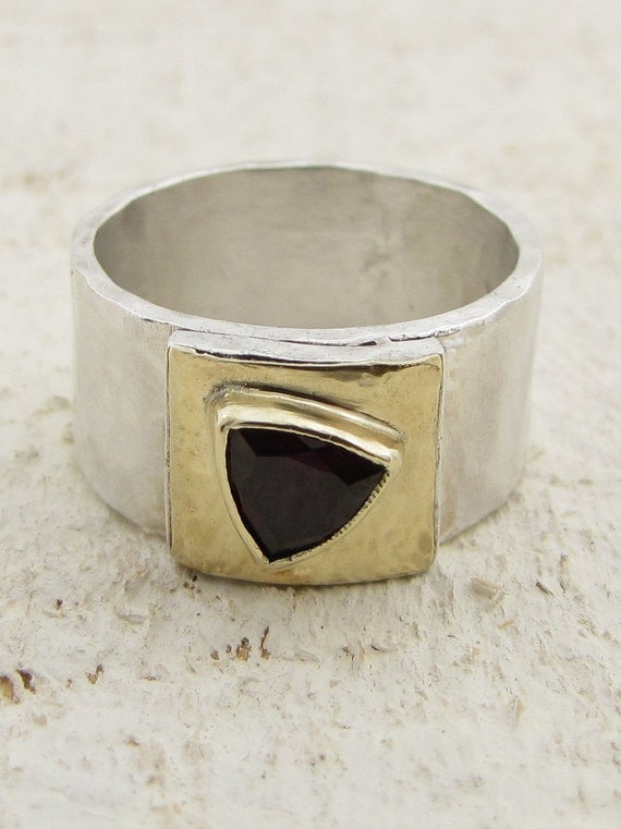 Silver and 14k  Gold Ring with Triangle Garnet