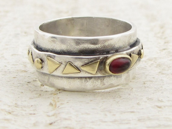 Garnet  Ring - Steling Silver and  14k Gold Ring,
