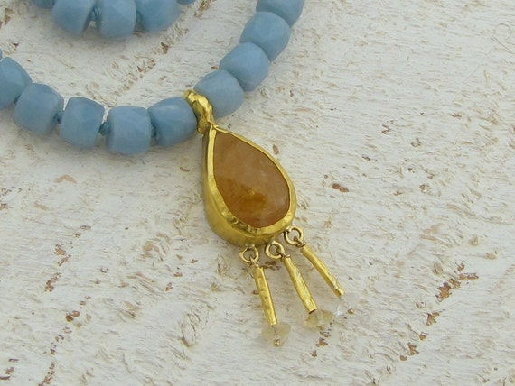 24k Gold Amazonite & Citrine Necklace - Sun and Sky