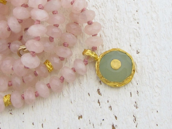 Statement Necklace, Rose Quartz & New Jade Necklace, 24k Gold Double Strand Necklace, Gemstone Necklace