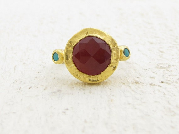 Gemstone Ring, Carnelian & Turquoise Ring, 24k gold Carnelian and  Silver Ring