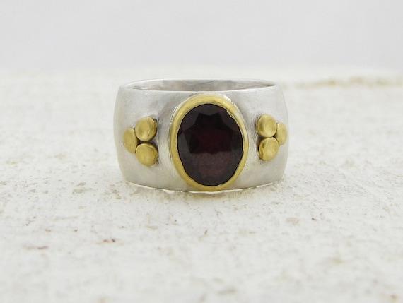 Garnet Ring, Oval Garnet with  24k Gold on Sterling Silver Ring