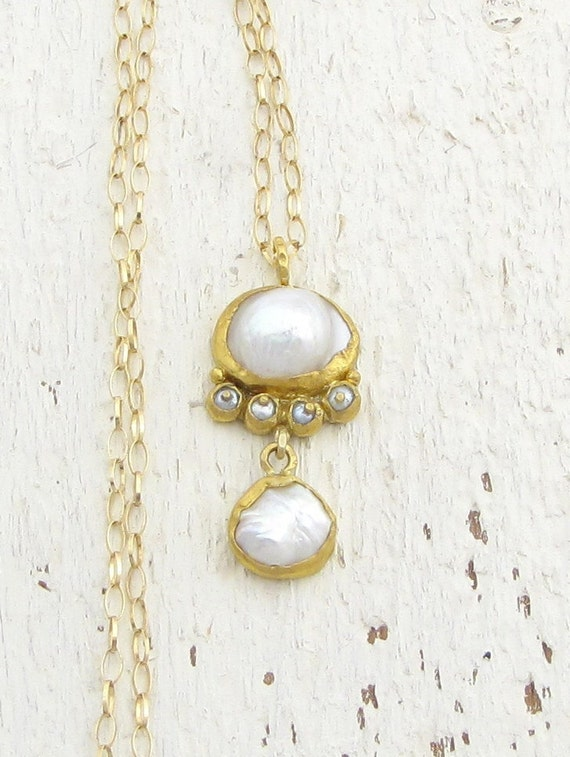 Pearls Necklace, Weddind  Gold Jewelry, Bridal Necklace, Handmade 24k  Solid Gold Necklace, Fine Jewelry