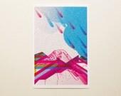 Coloured rain -  4 x 6  illustration print