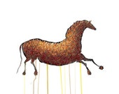 Lascaux Horse Drawing - 8 by 10 brown horse cave nature art - print of pastel painting