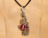 Red glass marble amulet pendant - stainless steel