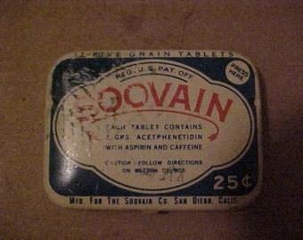Vintage Soovain Aspirin Tin, advertising tin