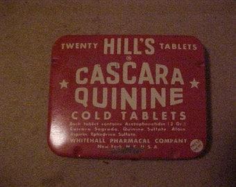 Vintage Hills Cascara Quinine Cold Tablets Tin, Advertising