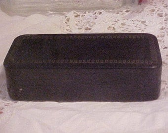 Vintage Metal Box for Treadle Sewing Machine Attachments, black with gold trim