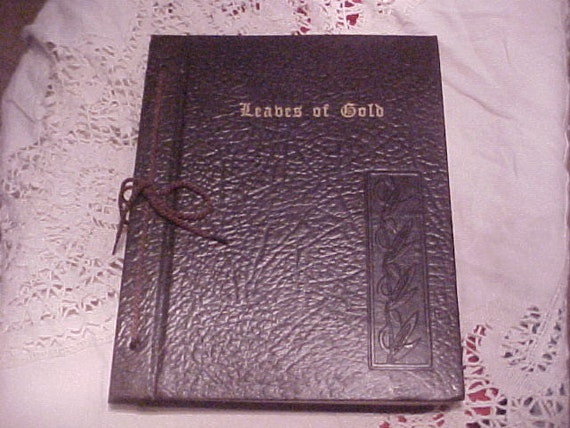 Vintage Leather Look Jeremiah Verse Bible Book Cover Large: Vintage Leaves Of Gold Book 1948 Anthology Of Prayers And