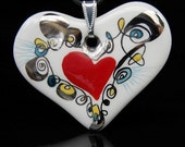 Sweet Porcelain Heart with Red Little Heart in Middle,OOAK