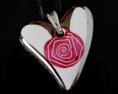 Little Cute Heart With Pink Spiral Porcelain Pendant OOAK