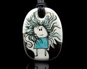 Little Girl with Hair in the Wind Porcelain Pendant OOAK