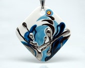 Abstract Blue Bird Marvelous Rhombus Porcelain Art Pendant One Of A Kind