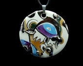 Abstract Round Porcelain Art Pendant OOAK