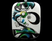 Abstract Porcelain Art Pendant One Of A Kind