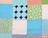 patchwork for newborn- Blue and green dotted baby blanket -handmade