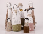 Family - grandparents, parents and three children dressed in natural earth tones , stripes plaid  and polka dots-handmade fabric dolls
