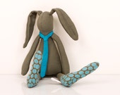 Small rabbit - Dark  Olive  Green kid rabbit  Wearing   polka dots socks  And turquoise tie-handmade fabric doll free shipping