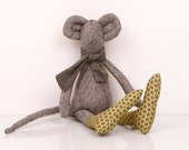 Mouse - knitted silk Mouse Wearing Green socks  with brown  polka dots and a gray  Striped scarf - handmade fabric doll free shipping