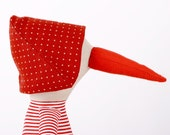 red  beak Duck With  Dotted hat Wearing White & red stripes Shirt and  Yellow Corduroy pants  -handmade doll