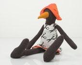 Plush - Rare species  Dark Black  bird With  beak wearing orange hat and  white dress with black scissors - handmade Soft doll