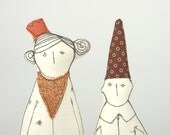 Princess and dwarf  - She in orange crown and golden scarf and he in brown pointy hat with circles - handmade dolls